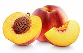 Group Of Ripe Whole Peach Fruit With Half And Slice Isolated On White Background. Peaches With Clipp poster