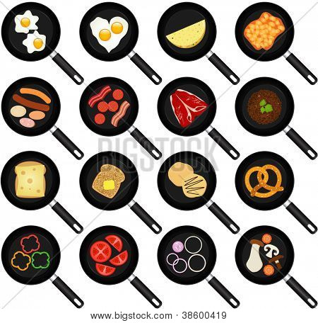 A vector collection of Breakfast Ingredients : Fried Food In Non-stick Frying Pans/Skillets