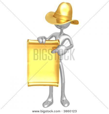 Cowboy With Poster