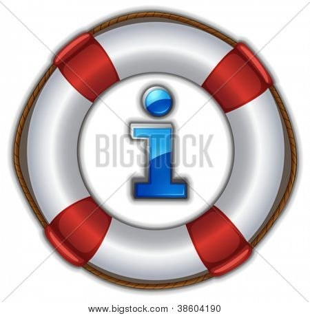 illustration of a lifesaver floating on a white background