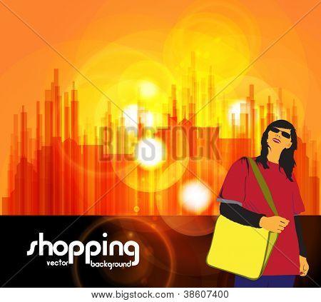 Shopping girl. Urban background. Vector illustration