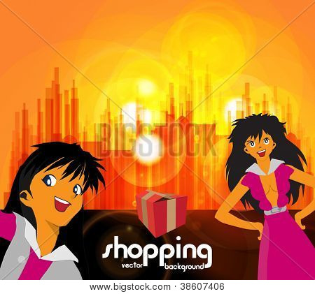 Shopping girls. Urban background. Vector illustration