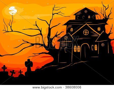 Halloween Illustration Featuring the Silhouette of a Haunted Framed by the Reddish Orange Sunset