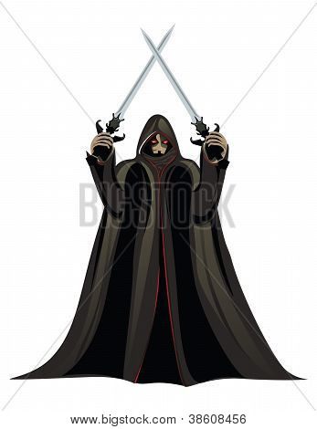 Illustration of a man in a cloak with two swords