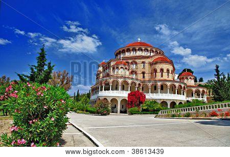 beautiful Church Agios Nectarios on island Aegina, Greece
