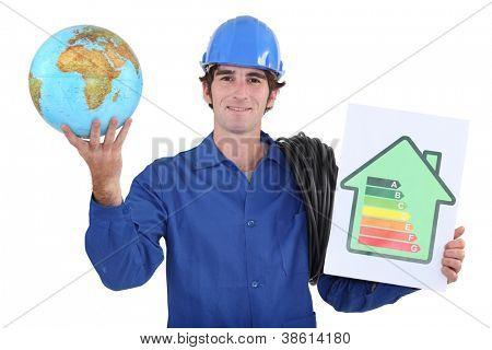 Trabalhadores com a Globo e o painel de avaliação de energia