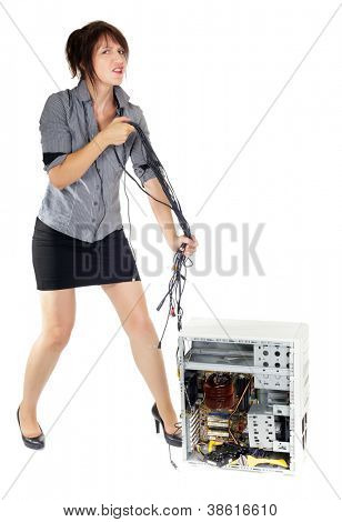 business woman whipping computer with electronic cables