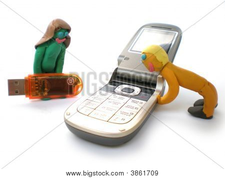 Plasticine People Figures With Phones And Usb Flash
