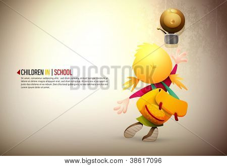 Little girl stretching high to reach and ring the school bell | EPS10 Vector Background | Layers Organized and Named Accordingly