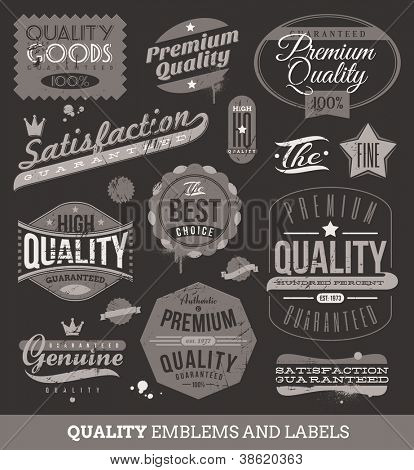 Vector signs, emblems and labels of quality and guaranteed