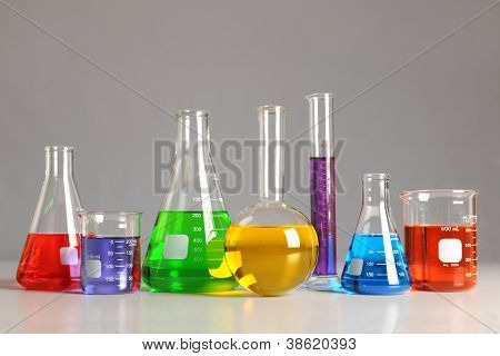 Laboratory glassware on table over neutral background -With Clipping Path