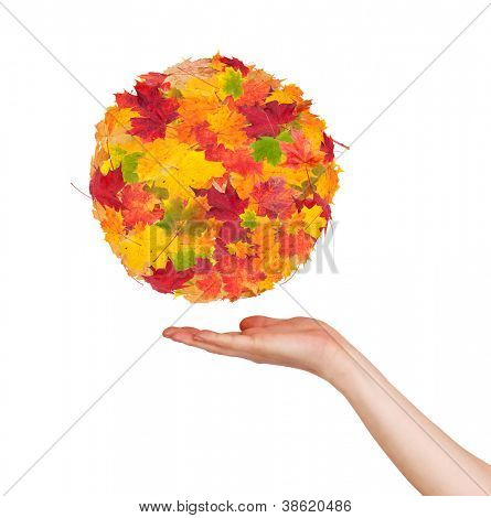 Woman hand holding autumn abstract ball, isolated on white background