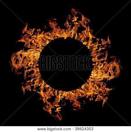 circle of orange flame isolated on black background