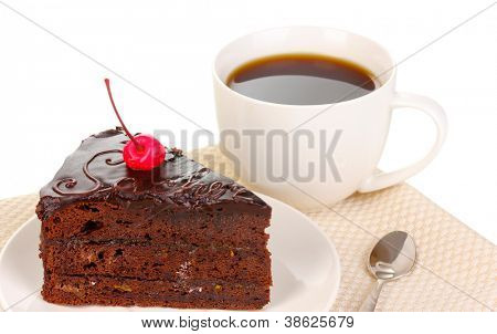 Chocolate sacher cake isolated on white