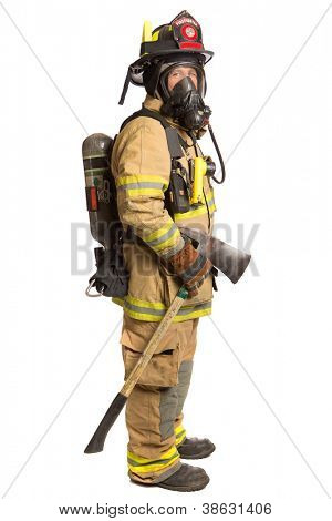 Firefighter holding mask and airpack fully protective suit holding ax on isolated white background