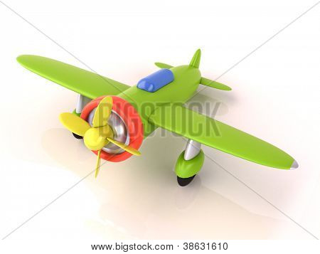 Toy plane on a white background, light shadow and reflection