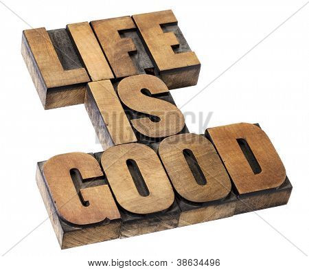 life is good - positivity concept - isolated text in vintage letterpress wood type