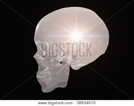 Skull radiates light