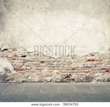 Aged street wall background, texture