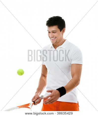 Sporty athlete playing tennis, isolated on white