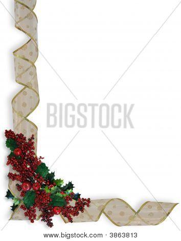 Marco del diseño de la esquina de la cintas de Navidad o frontera