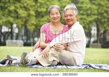Senior Chinese Couple Relaxing In Park Together