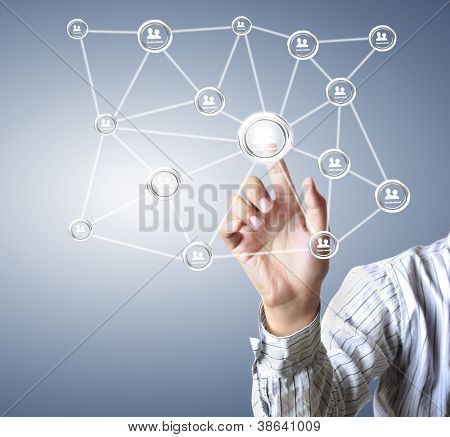 hand pushing social network structure