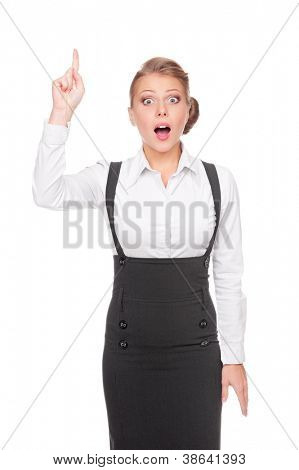 amazed businesswoman pointing up. isolated on white background