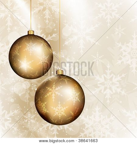 Two golden baubles on bright background with subtle snowflakes pattern