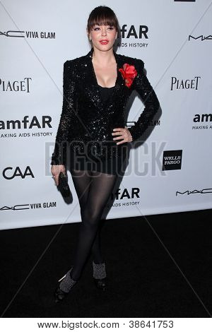 LOS ANGELES - OCT 11:  Rose McGowan arrives at the amfAR Inspiration Gala Los Angeles at Milk Studios on October 11, 2012 in Los Angeles, CA