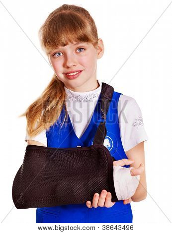 Child with broken arm. Isolated.