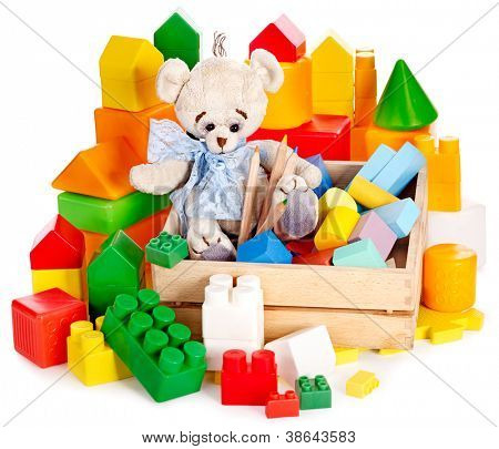 Teddy bear and cubes. Children toys. Isolated.