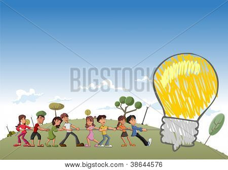 Group of children pulling a big idea light bulb