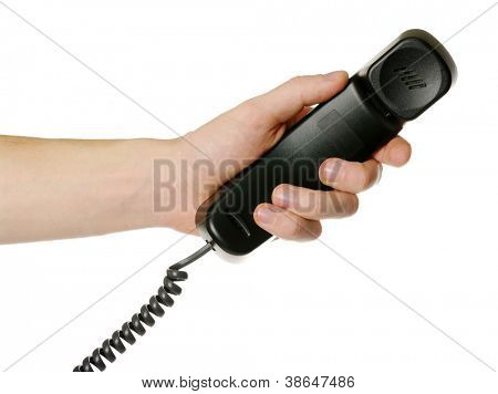 hand giving a phone tube isolated over white