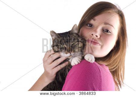 Teen Girl Holding Cat