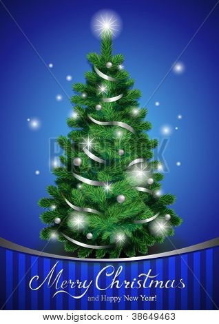Vector Christmas tree, beautiful Christmas greeting card