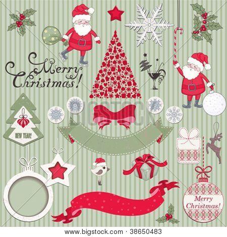 Set of Christmas scrapbook vector elements
