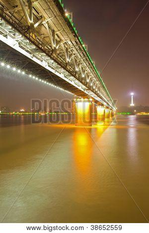 Yangtze river Road and Train bridge at dusk Wuhan Hubei province, China,