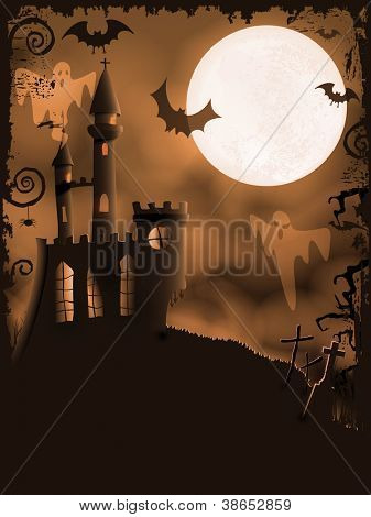 Orange Halloween background with haunted castle, bats, ghosts, full moon and grunge elements