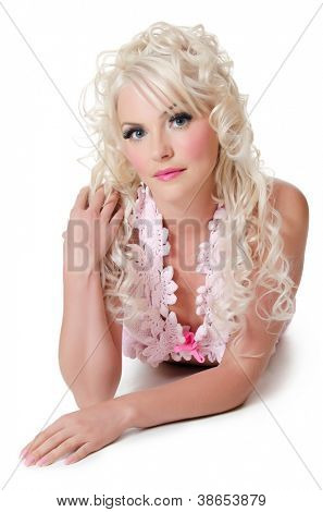 The beautiful woman blonde with doll make-up