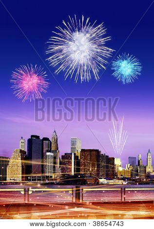 Downtown Brooklyn skyline with fireworks in New York City at night