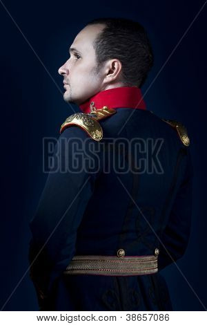 man wearing military jacket 19th century Spanish army, call of duty
