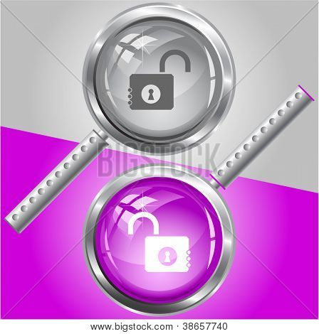 Opened lock. Raster magnifying glass. Vector version is in my portfolio.