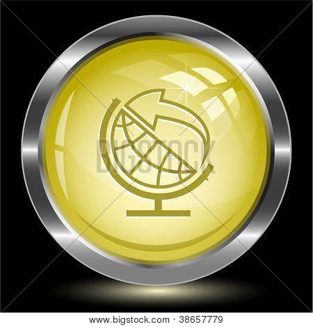 Globe and arrow. Internet button. Raster illustration.