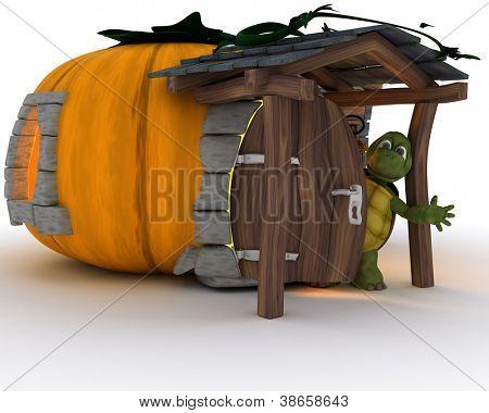 3D Render of tortoise in Halloween pumpkin cottage