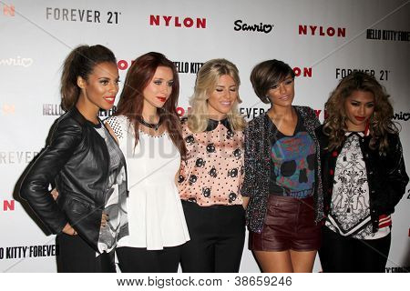 LOS ANGELES - OCT 15:  The Saturdays arrive at  Nylon's October IT Issue party at London West Hollywood on October 15, 2012 in Los Angeles, CA