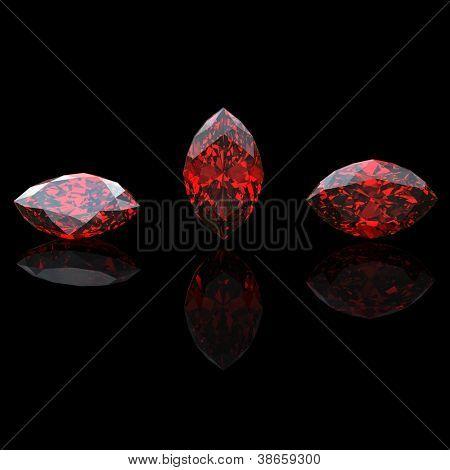 garnet isolated on black background. Gemstone