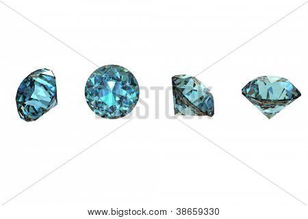 Collections of round shape jewelry gems on white. Swiss blue topaz
