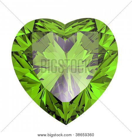 Heart shaped Diamond isolated on a white background. peridot