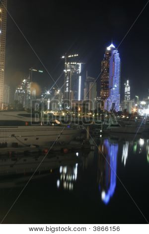 Dubai Marina Night Lights Reflections